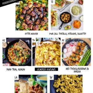 """Hei siellä 👋 tässäpä ensi viikon kasvisruokalista! Aika mones """"uuden normaalin"""" viikko on taas edessä, joten totesimme että sen ruokailuun tarvitaan ripaus raikkautta, rakkautta, tsemppiä ja optimismia. Ja vähän lohtuakin. . 💚💚💚 . ✅ Lataa siis ruokalistamme, tuunaa oma viikkosi ja astele sitä kohti sisua ajatuksissa ja teoissa!  Reseptit löydät 👉 jalotofu.fi/reseptit . 🔥🔥🔥 MA: PYTTIS HEAVEN Hyötykäytä viikonlopulta ylijääneet kasvikset — tai valitse ne, jotka itselle tai omalle perheelle parhaiten maistuu. Hyvää kielelle ja mielelle! . 💫💫💫 TI: TORTILLA, PITÄLEIPÄ, SALAATTI? Valitse fiiliksen ja käytettävissä olevan ajan mukaan sopiva ympäristö ihanan rapealle tofulle, jokainen näistä toimii tilanteessa kuin tilanteessa. . 🌸🌸🌸 KE: PHAD THAI, AIJAIJAI ❤  Kaikkien thai-ruokien mama ei jätä kylmäksi. Voiko edes olla parempaa viikon puolivälin juhlistusta, kuin suolaisenmakea nuudeliruoka? . 🌱🌱🌱 TO: LEMPEÄ KIUSAUS Perunoista, savutofusta ja kaurakermasta valmistuu tsemppaava kiusaus, jota halutaan lisää. Pinnalle jäävistä tofuista tulee ihanan rapeita. . 🌞🌞🌞PE: HIFI TOFUGLASEERAUS + PARSAA Kun on aika nostattaa tunnelmaa on aika ruokahifistellä hieman. Helppo tofun glaseeraus muscovadosiirapilla + parsaa = jackpot. . ⭐️⭐️⭐️ LA: TÄYDELLINEN LAKSALAUANTAI Hieman enemmän näpertämistä vaativa malesialainen laksa hurmaa maukkaasta liemestä pitävän yhden toisensa jälkeen. Kokeile vaikka! . ✨✨✨ SU: HIMMEÄ MUNATON KOKKELI Nyt on syntynyt aivan mieletön resepti vegaanisesta munakokkelista. Salaisena ainesosana @baba.fi pehme. Mmm, omnom ja mitä vielä."""
