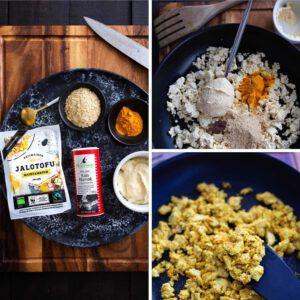HIMMEÄ MUNATON KOKKELI 🧑 Nyt on syntynyt aivan mieletön resepti vegaanisesta munakokkelista. Salaisena ainesosana pehmeä hummus. Mmm, omnom ja mitä vielä.  Tofukokkeli * 1 pkt Jalotofu Maustamaton (270g) luomu * 2 rkl hummusta (esim. BABA) * 2 rkl ravintohiivahiutaleita (oluthiivahiutale) * 1 tl valkosipulijauhetta tai 1 valkosipulinkynsi hienonnettuna * 1 tl kurkumaa * ½ tl Kala Namak mustaa suolaa (tai normaali) * 2 rkl öljyä paistamiseen * mustapippuria myllystä Lisäksi * maalaisleipä, viipaloituna (tai karjalanpiirakoita) * levitettä tai tuorejuustoa TEE NÄIN: * Otamaustamaton tofu pois pakkauksesta ja leikkaa se pituussuunnassa puoliksi. Painele tofun pinta kuivaksi talouspaperilla tai keittiöpyyhkeellä. Poistamalla näin tofusta ylimääräistä nestettä saat paahdettua tofun rapeaksi pannulla.🧑🏻 * Murustele tofu käsin tai haarukan avulla pieneksi muruksi ja mittaa muut mausteet valmiiksi. Kuumenna öljy paistinpannulla ja lisää tofumuru. Paista hetki sekoittaen ja lisää kaikki loput mausteet ja hummus. Vähennä lämpöä ja paista sekoitten vielä hetki, niin että kaikki mausteet ovat sekoittunut hyvin. Tarkista maku ja mausta tarvittessa suolalla ja mustapippurilla. . . . tallenna resepti