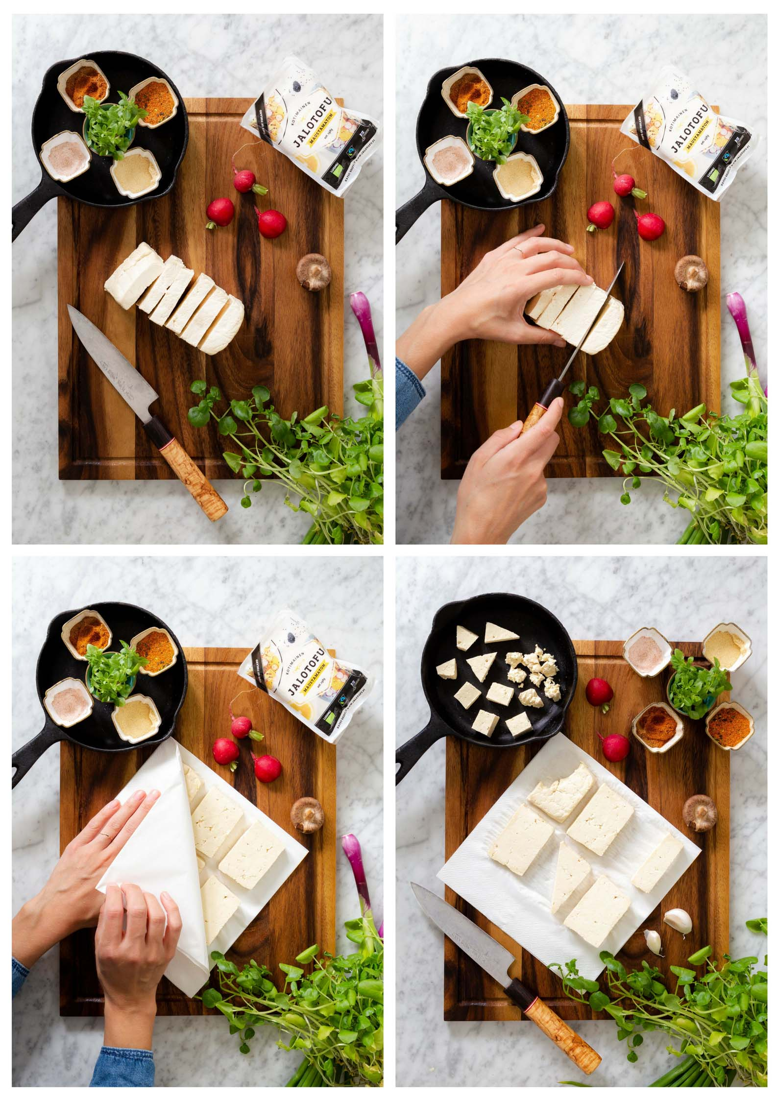 tofun paistaminen ja pannumarinointi