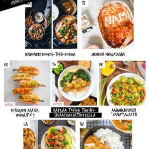 """Oispa aina nälkä!  LATAA kaikki must-reseptit, jotka jokainen luova kotikokki tarvitsee arjen kiireessä. ︎ Tässä esimerkki viikon kasvisruokalistasta! Aika mones """"uuden normaalin"""" viikko on taas edessä, joten totesimme että sen ruokailuun tarvitaan ripaus raikkautta, rakkautta, tsemppiä ja optimismia. Ja vähän lohtuakin.  Nappaa sivuilta ruokalista inspiraatioksi, tuunaa oma viikkosi ja astele sitä kohti sisua ajatuksissa ja teoissa! ❣️ Reseptit löydät jalotofu.fi/reseptit  ja"""