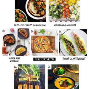 """Tämän viikon kasvisruokalista, voilà! 🍽 Mukana uusi trendi pääsiäismaanantaille ja sen jälkeen pikapikapikaruokaa, koska sitä nyt vaan tarvitaan. 🙃 . ✅ Lataa ruokalista, tsekkaa reseptit, valitse omasi, tee ostoslista ja ota viikkoon mukaan taas ripaus survivalhenkeä!  Reseptit löydät . 👉 jalotofu.fi/reseptit 💚 Kevät on täällä ja kesäkin tulee! 💚 . 💫💫💫 MA: NEXT-LEVEL """"NAKIT"""" JA MUUSSI BOWL Trendikkään kulhoruoan uusi tuleminen! Nyt nimittäin sen pohjana on good old muussi, päälle rapeita tofu""""nakkeja"""", sieniä, herneitä ja punaviinikastike. . 🔥🔥🔥TI: NERONLEIMAUS-VEGEPELTI Kun (taas) tarvitaan jotain nopeaa, mutta ravitsevaa arkiruokaa! Tähän tarvitaan vain pelti, suosikkivihannekset ja tofua. Uuni hoitelee ne rapeiksi ja maukkaiksi. . ⭐️⭐️⭐️ KE: UUDEN AJAN VOIKKARIT Kuka sanoi, että leipä ei voisi toimia pääruokana? Pötyä! Kunhan valitsee laadukasta leipää, ruokaisat täytteet ja kruunaa ne rapealla tofumurulla. . ✨✨✨ TO: PIKAPIZZATORSTAI Nyt vietetäänkin pizzatorstaita, koska miksi ei? Tämän nopeammaksi itse täytetty pizza tuskin voisi mennä, kiitos tempen! . 🌞🌞🌞 PE: TUHDIT SALAATTIVENEET  Viikonloppu purjehtii paikalle pirteiden salaattiveneiden siivittämänä. Miten helppo ja hauska tapa saada koko kotijengi syömään salaattia tacojen tapaan! . 🌸🌸🌸 LA: GRILLIKAUSI AUKI -VARTAAT Nyt on selvästi sopiva aika korkata grillikausi. Tofuvartaat ovat jo nyt klassikko. Ihana maku niihin tulee esim teriyaki- tai hoisinkastikkeesta. . 🌱🌱🌱 SU: VEGEPEKONIA SOSEKEITOSSA Rentoon sunnuntaihin sopii sekä nopeasti surautettava, samettinen keitto että sen päälle hämmästyttävästi pekonin virkaa toimittava tempe"""