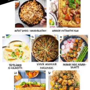 Tämän viikon ruokalista, olepa hyvä! 😎 Se sisältää klassikkoja arkeen ja juhlaruokia erikoiseen, mutta kuitenkin kuplivaan vappuun. Vaikka sitä juhlitaankin nyt lähinnä omassa kuplassa, ei ole tarvetta tinkiä hyvästä kevätfiiliksestä! 🥳 . ✅ Lataa ruokalistamme, pidä ikinaamari hassuna ja iloisena, simalasi ainakin puoliksi täytenä ja nauttikaamme vappuviikosta! . Reseptit löydät 👉 jalotofu.fi/reseptit Lataa lista reseptilinkkeineen: 👓 jalotofu.fi/kasvisruoat-viikon-ruokalista/ 👓 . ✨✨✨ MA: MUTKAT SUORIKSI -MAKARONILAATIKKO Koska maanantai. Ja silloinhan kaikki haluaa jotain tuttua ja turvallista, ja aina vaan niin ihanaa. Tosin nyt suoristetaan mutkat, mausta tinkimättä! . ⭐️⭐️⭐️ TI: UUNIRIISIN VOITTAMATON PALUU HUOM! UUSI RESEPTI PALLURA Tämän helpompaa, täyttävämpää ja maukkaampaa kotilounasratkaisua saa etsiä. Ainesosia muutama, vaiheitakin, silti helppo! Ja nam! . 🌱🌱🌱 KE: TÄYTELÄINEN EI-KALAKEITTO Supisuomalainen, kermainen kalakeittoklassikko tähän päivään päivitettynä. Kermainen, mutta ilman kermaa. Merellinen, mutta ilman kalaa! . 🌸🌸🌸 TO: VAPUN MAUKKAIN PARSAPIIRAS Vappu ja parsa — varmoja kevään merkkejä. Kylmäsavusta twistinsä saava piiraamme niittää kehuja. Säästä huomisen piknikille! . 🌞🌞🌞 PE: PIKNIKIN PARAS PERUNASALAATTI  Oman perheporukankin pieni vappupiknik on silti vappupiknik. Herkkueväissä ei himmailla, ja siksi tämä perunasalaatti tulee mukaan. . 🔥🔥🔥 LA: RETKIPÄIVÄN PATONKIHITTI Ylös, ulos ja kevään pörriäisiä bongaamaan! Mukaan tietysti eväät. Miten olisi täytetty patonki, jonka väliin notskilla rapeaksi paistettua tempeä? . 💫💫💫 SU: NÄPPÄRÄ HUMMUSSALAATTI Näyttävä ja trendikäs tapa rakentaa erinomaisen ruokaisa salaatti? Koota se hummuksen päälle ja viimeistellä rapealla tofulla. Tästä näin