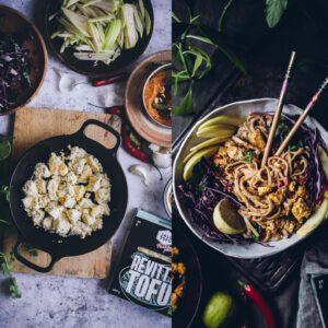 """TOFU on kotikeittiöiden vegesafkan kulmakivi. Nyt varsinkin, kun kaupoista löytyy kokkailua helpottava uusi Paahtopala/Revitty tofutuote joka taipuu moneen!  Nappaa uusin @viimeistamuruamyoten -yhteistyöresepti Indonesialaiset Satay-nuudelit ja helppo tofun maustamisvinkki (V) bion linkistä! 🧑 """"Tämän kuivatusvaiheen voi Paahtopalan avulla skipata, ja kaataa tofut suoraan paketista pannulle.Paahtopala on siis jo valmiiksi kuivattu tofu. Samalla Jalotofu on laittanut sen revityssä muodossa pakettiin.Revitty olomuoto maksimoi pinta-alan, jolloin tofu saa enemmän rapeutta ja paistopintaa.Kurpitsapastassa käytössäni oli valmiiksi maustettu tofu, kun taas nyt testataan maustamatonta paahtopalaa.""""  . . . #viimeistämuruamyöten x"""