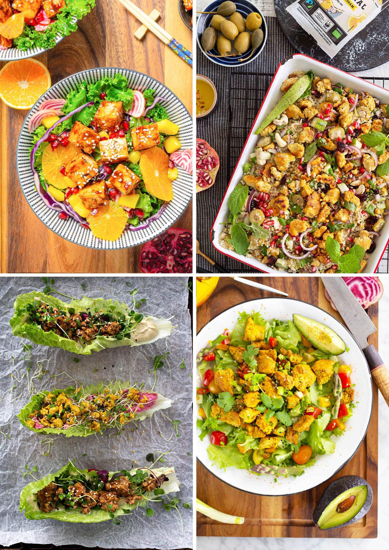 Värikkäitä ja ruokaisia tofusalaatteja.